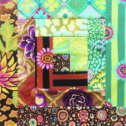 Kaffe Fassett Free Spirit Pre-Cut 12 Block Log Cabin Quilt Kit - Dream Garden