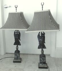 Pr Antique bronze lamps on marble bases w. custom shades $1400.00