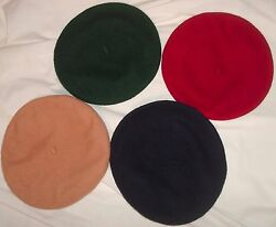 4x Unisex Wool Berets ~BURGUNDY~NAVY~HUNTER~TAN~ from Berets.com w FREE SHIP