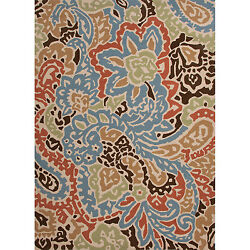 Hand Hooked Indoor Outdoor Abstract Pattern Multi Colored Carpet Rug 9' x 12'