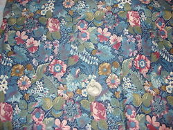 Vintage Cotton Fabric SHADES OF BLUE BROWN GREEN WHITE FLORAL ON NAVY 1Yd 42quot; $12.00