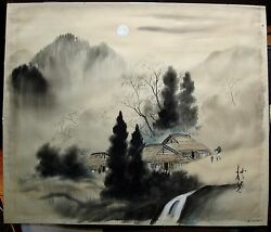 Vintage Water color silk painting Japanese mountains stream water FREE SHIP
