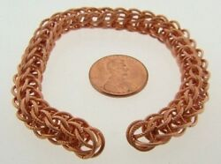3 VINTAGE COPPER FILIGREE BRAIDED DECO 8mm. ROPE CHAIN 7