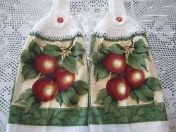 * *2 HANGING KITCHEN TOWELSNEW APPLES100% COTTON OFF WHITE CROCHETED TOPS $11.99