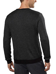 Calvin Klein Men's Merino Wool V-Neck Sweater Black Combo Size XL