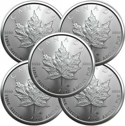 Lot of 5 - 2020 1 oz Canadian .9999 Silver Maple Leaf Coins