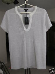 JCREW GRAY CLAUDIA CASHMERE PLEATED SWEATER  M - NWT
