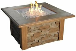 Square 43 inch Sierra Crystal Fire Pit Table - Chat Height