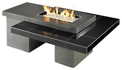Black 12 x 24 inch Uptown Gas Fire Pit Table - Chat Height