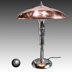 1937 Iconic Faries Guardsman Chrome & Copper Machine Age Art Deco Lamp RESTORED