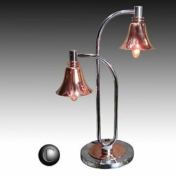 1930's VTG Chrome & Copper Machine Age Deco Double Bell Lamp * RESTORED