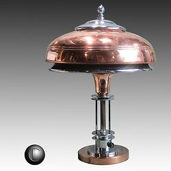 MARKEL Machine Age Art Deco Chrome & Copper Double-Shade Lamp c.1937  * RESTORED