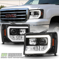 Black 2007-2013 GMC Sierra 1500 2500HD 3500HD LED DRL Tube Projector Headlights $255.99