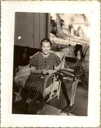 1930s Young Woman Figural Butler Tray Stand Cigarettes Rooster Print Dress Photo
