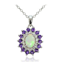 Sterling Silver Ethiopian Opal African Amethyst White Topaz Oval Flower Necklace
