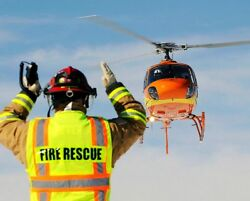 FIRE RESCUE HELICOPTER ON APPROACH 8x10 SILVER HALIDE PHOTO PRINT $14.99