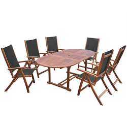 7Pcs Oval Extending Dining Table and 6 Folding Chairs Patio Garden Furniture Set