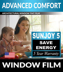 SunJoy 5 One Way Mirror Privacy Home Commercial Window Tint Film Solar UV Heat $39.37