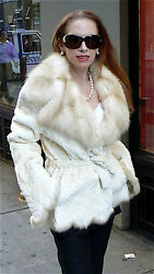 ZANDRA RHODES IVORY BLEACHED RUSSIAN SABLE &  LASERED MINK FUR COAT 6-10 NEW