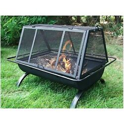 Modern Outdoor Fireplace Wood Burning Fire Pit Kit BBQ Tools Cover Patio Metal