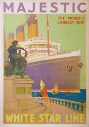 AYLWARD VINTAGE POSTER WHITE STAR LINE MAJESTIC THE WORLD'S LARGEST SHIP ci 1922