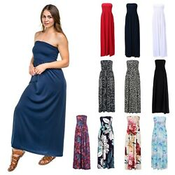 Women#x27;s Strapless Maxi Dress Plus Size Tube Top Long Skirt Sundress Cover Up $24.99