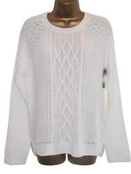 White Button Back Summer Cable Knit Jumper Sweater Size 18