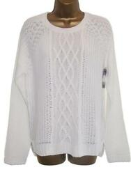 White Button Back Summer Cable Knit Jumper Sweater Size 24