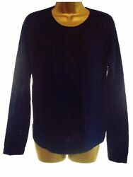 Navy Blue Button Back Summer Cable Knit Jumper Sweater Size 12
