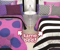 Little Miss Matched 8-Pc Bed Set Full Sheets & pillowcases Pink Purple  AC2