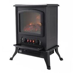 Realistic Classic 1000W Adjustable Metal Electric Fireplace Heater Dancing Flame