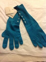 CASH CA ENGLAND for LEBON MARCHE 100% Cashmere Button Cuff Long Turquoise Gloves
