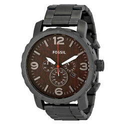 Fossil Men's Nate Chronograph Wool Dial Watch Quartz Mineral Crystal JR1355