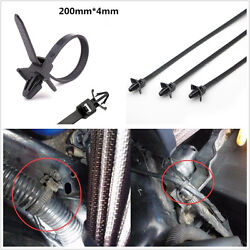 100 Pcs 200mm Car Offroad Cable Strap Push Mount Zip Wire Tie Retainer Clamp Kit
