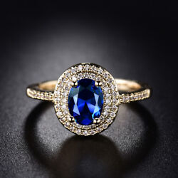 18K Gold Filled Oval Blue Sapphire Round White Topaz Wedding Ring Size 78910