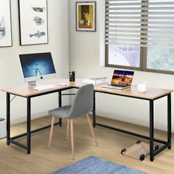 Computer Desk L Shaped Desk Laptop Table w CPU Stand Home Office Furniture $124.90