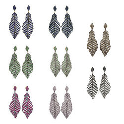 Natural Diamond Gemstone Pave Feather Dangle Earrings Gold 925 Silver Jewelry