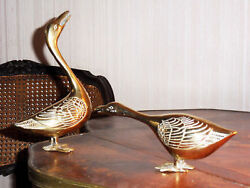 FRENCH TWO FIGURINES in GILT BRONZE (or copper) representing geese (Art Deco)