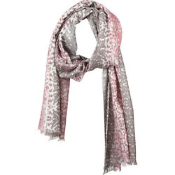Kinross Cashmere Ombre Ikat Print Scarf - Pink Frost HatsGlovesScarve NEW