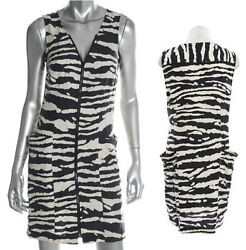 NWT Michael Kors  Zebra Milk Black Print Zipper Front Silk Dress