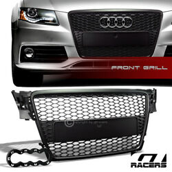 For 2009-2012 Audi A4 B8 Black Honeycomb Mesh Front Hood Bumper Grille Guard Abs