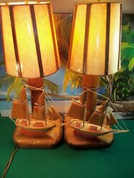 Pair of Vintage Wooden Lamps w sailing boats on base. Approx 24.5quot; Tall $199.99