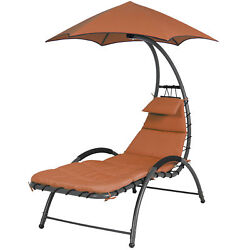Arc Curved Hammock Dream Chaise Lounge Chair Outdoor Patio Pool Furniture Orange