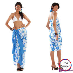 1 World Sarongs Triple Lei Sarong in Blue White Beach Cover Up Wrap Skirt $16.99