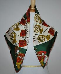 Vintage French Horns Design Jacqmar 29 X 29 ladies Silk Scarf Hand Rolled Edge