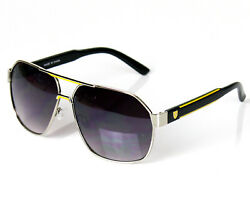 Mens Designer Fashion Sunglasses Shades Retro Metal Yellow Black Pilot Classic