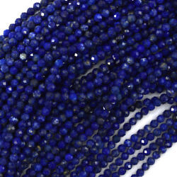 Natural Faceted Blue Lapis Lazuli Round Beads 15.5