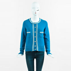 Chanel NWT Blue & White Cashmere 'CC' Button Cardigan SZ 38