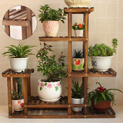 Garden Wooden Plant Stand Pot Planter Holder Rack 5 Tier Display Shelves Outdoor