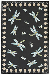 Liora Manne Frontporch Dragonfly IndoorOutdoor Rug Black 90 X 114
